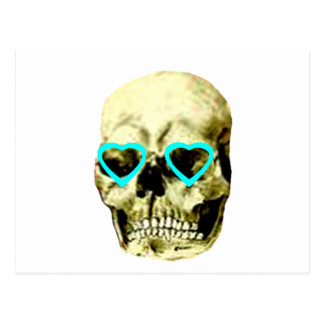 Skull Hearts Cyan The MUSEUM Zazzle Gifts Postcards