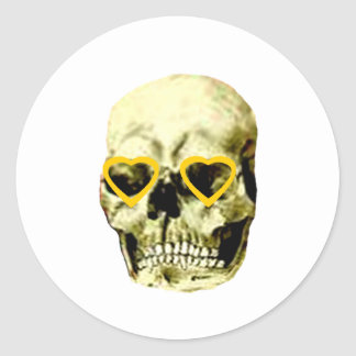 Skull Hearts Gold The MUSEUM Zazzle Gifts Round Stickers