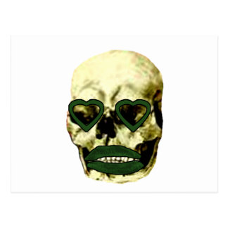 Skull Hearts Green Kiss The MUSEUM Zazzle Gifts Postcard