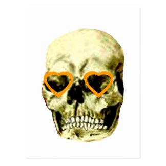 Skull Hearts Orange The MUSEUM Zazzle Gifts Post Card