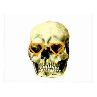 Skull Hearts Orange The MUSEUM Zazzle Gifts Postcard