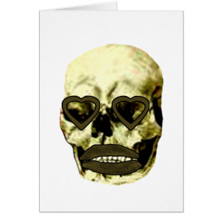Skull Hearts Yellow Kiss The MUSEUM Zazzle Gifts Greeting Card
