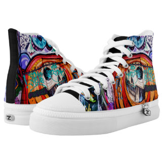 Skull High Tops Printed Shoes