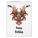 Skull Horns Flames and Handlebars Card