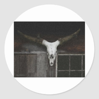 Skull & Horns Round Sticker