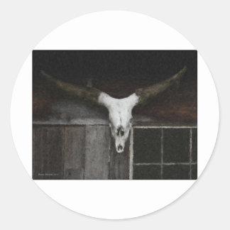Skull & Horns Round Stickers