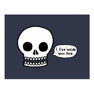 Skull - I Live Inside Your Face Postcard