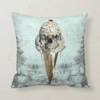 Skull ice cream cone illustration cushion
