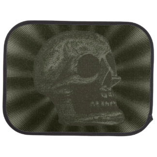 Skull- Illustrated Skull! Deep Green Car Mat