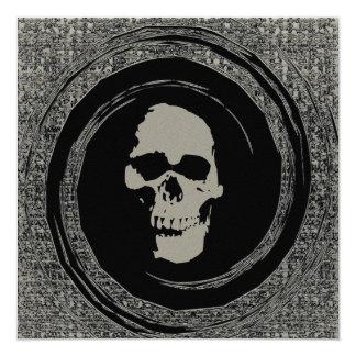 "Skull in a Black Void 5.25"" Square Invitation Card"