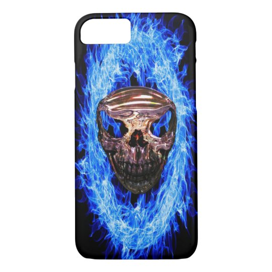 Skull in a ring of blue flames iphone