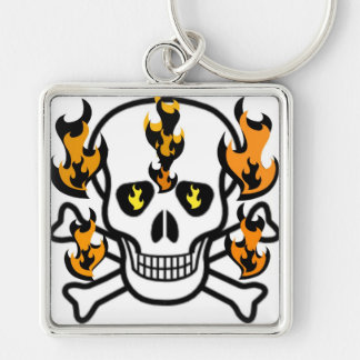 SKULL IN FLAMES GRAPHIC PRINT KEY CHAIN