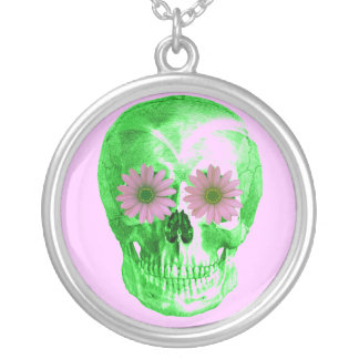 SKULL IN GREEN WITH PINK DAISY EYES SILVER PLATED NECKLACE