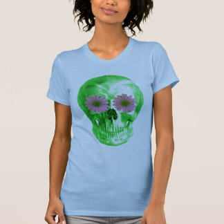 SKULL IN GREEN WITH PURPLE DAISY EYES TEE SHIRTS
