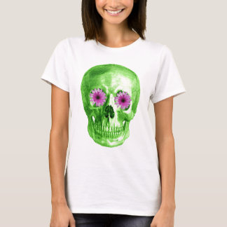 SKULL IN GREEN WITH RETRO DAISY EYES T-Shirt
