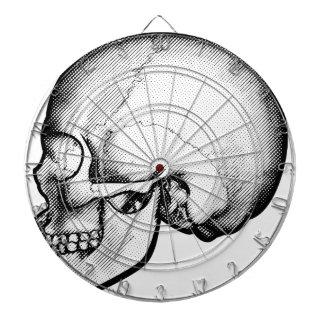 Skull in Profile Drawing Dartboard With Darts