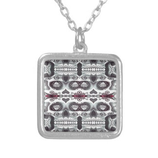 Skull in the mirror square pendant necklace