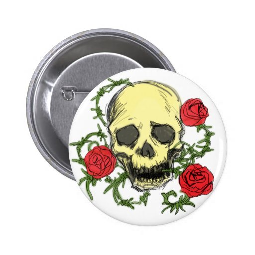 Skull in the Roses Buttons