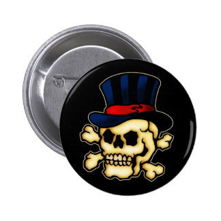 Skull in Top Hat 6 Cm Round Badge