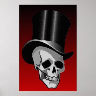Skull In Top Hat Poster