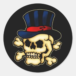 Skull in Top Hat Round Sticker