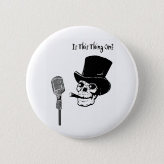 Skull in Top Hat with Microphone 6 Cm Round Badge