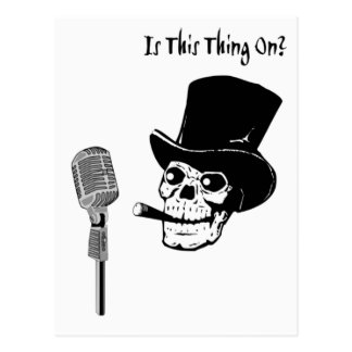 Skull in Top Hat with Microphone Postcard