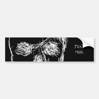 Skull, in White. Bumper Sticker