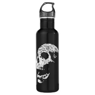Skull in White on Black. 710 Ml Water Bottle