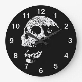 Skull in White on Black. Large Clock