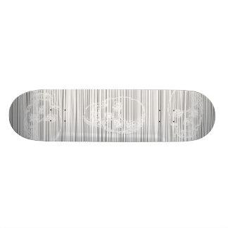 Skull, in White. Skateboard Deck