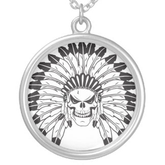 Skull Indian Chief Round Pendant Necklace