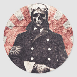 Skull kamikaze classic round sticker