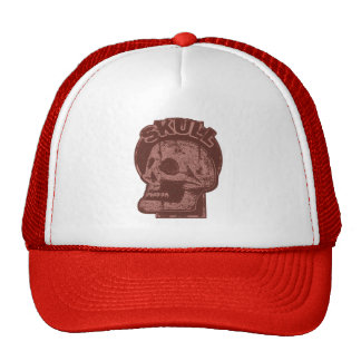 SKULL Keyhole - Brick Red Distressed Logo look Cap