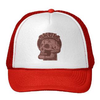 SKULL Keyhole - Brick Red Distressed Logo look Cap