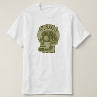 SKULL Keyhole -Faded Olive Green Distressed Logo T-Shirt
