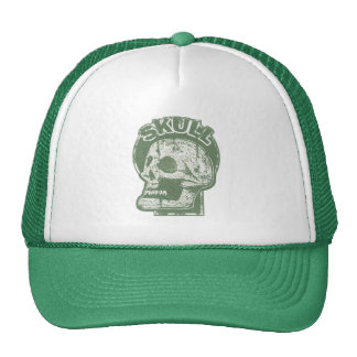 SKULL Keyhole -Faded Pine Green Distressed Logo Cap