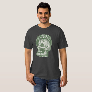 SKULL Keyhole -Faded Pine Green Distressed Logo Tee Shirts