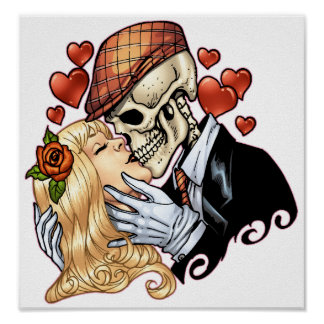 Skull Kiss with Hearts and Roses by Al Rio Poster