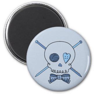 Skull & Knitting Needles (Blue Background) Fridge Magnet