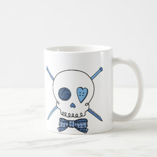 Skull & Knitting Needles (Blue) Coffee Mug