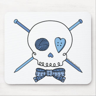 Skull & Knitting Needles (Blue) Mouse Mat