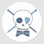 Skull & Knitting Needles (Blue) Round Stickers