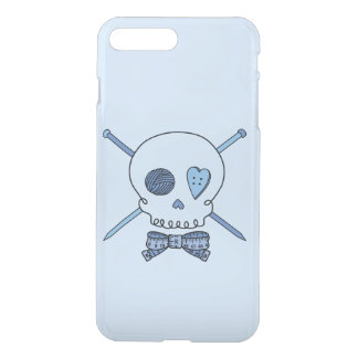 Skull & Knitting Needles (Bow Tie & Blue Back) iPhone 7 Plus Case