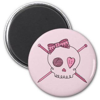 Skull & Knitting Needles (Pink Background) Magnets