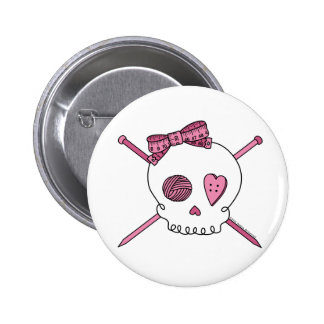 Skull & Knitting Needles (Pink) 6 Cm Round Badge