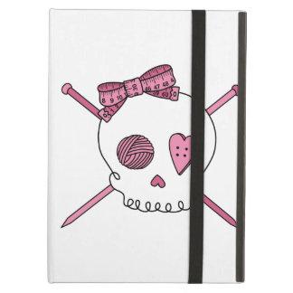 Skull & Knitting Needles (Pink) iPad Cases