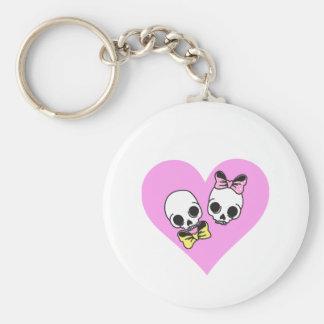 skull love basic round button key ring