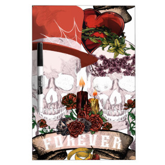 Skull Love Marriage Skeleton Couple Dry Erase Board