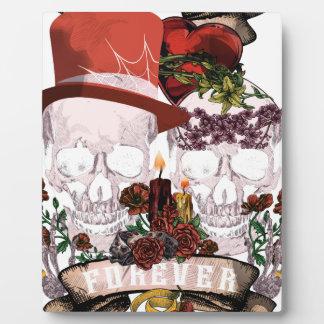 Skull Love Marriage Skeleton Couple Plaque